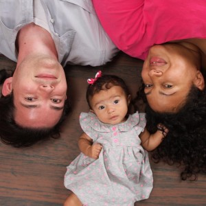Kassondra and her husband Michael with their daughter Madeleine when she was three months old